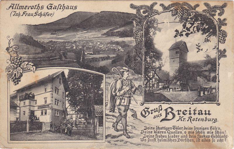 1915: Älteste Breitauer Ansichtskarte mit dem Gasthaus der Familie Almeroth, daß am heutigem Dorfanger neben der alten Linde stand.